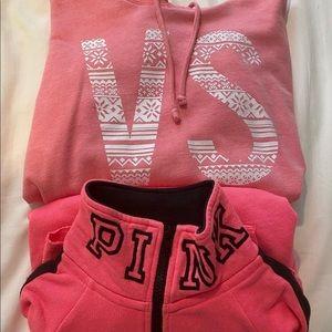 VS hoodie/Pink quarter zip